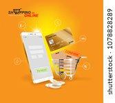 shopping online on website or...   Shutterstock .eps vector #1078828289