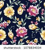 Stock vector vintage flower pattern on navy background 1078834034
