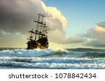 pirate ship at the open sea at... | Shutterstock . vector #1078842434