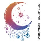 crescent boho moon with... | Shutterstock .eps vector #1078847639