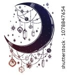 crescent boho moon with... | Shutterstock .eps vector #1078847654