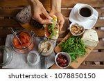 rye bread sandwich with cream...   Shutterstock . vector #1078850150