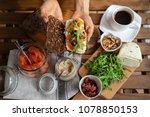 rye bread sandwich with cream...   Shutterstock . vector #1078850153