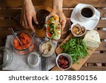 rye bread sandwich with cream...   Shutterstock . vector #1078850156