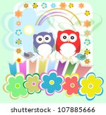 set of elements   owls  birds ... | Shutterstock . vector #107885666