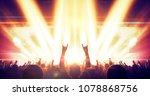 a fan raising hands with the... | Shutterstock . vector #1078868756