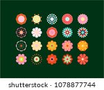 blooming colored icon set.... | Shutterstock . vector #1078877744