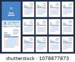 2019 calendar planning. blue... | Shutterstock .eps vector #1078877873
