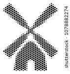 halftone hexagon wind mill icon.... | Shutterstock .eps vector #1078882274