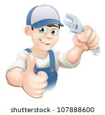 graphic of a smiling plumber ...