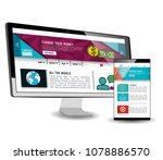 model website at device... | Shutterstock .eps vector #1078886570
