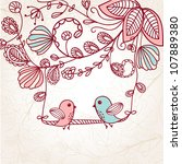 Greeting Card With Two Birds O...