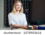 young blonde woman smiling and... | Shutterstock . vector #1078903616