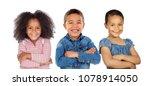 three latin children crossing...   Shutterstock . vector #1078914050