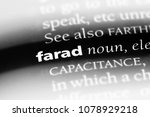 Small photo of farad word in a dictionary. farad concept