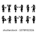 stick figure business woman... | Shutterstock .eps vector #1078932326