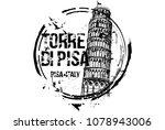 pisa tower. toscana  italy city ... | Shutterstock .eps vector #1078943006