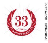 33 years anniversary. elegant... | Shutterstock .eps vector #1078952870