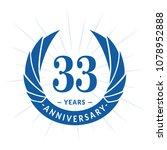 33 years anniversary. elegant... | Shutterstock .eps vector #1078952888