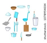 basic dishes icons set. cartoon ...   Shutterstock .eps vector #1078954034