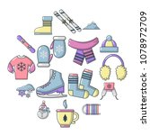 winter clothes icons set....   Shutterstock .eps vector #1078972709