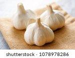 fresh garlic bulbs. | Shutterstock . vector #1078978286