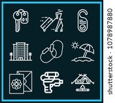 set of 9 holidays outline icons ...   Shutterstock .eps vector #1078987880