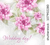 wedding card or invitation with ... | Shutterstock .eps vector #107902280