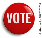vote button in red on isolated... | Shutterstock . vector #1079025254