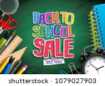 back to school sale vector... | Shutterstock .eps vector #1079027903
