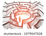 vector hand drawn labyrinth... | Shutterstock .eps vector #1079047028