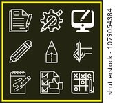 set of 9 pencil outline icons... | Shutterstock .eps vector #1079054384
