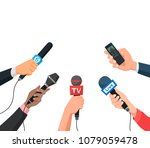 hands with a microphones and... | Shutterstock .eps vector #1079059478