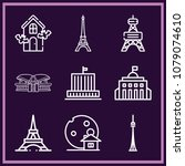 set of 9 monument outline icons ... | Shutterstock .eps vector #1079074610
