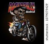 vintage rockabilly skulls...   Shutterstock .eps vector #1079075429