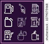 set of 9 gasoline outline icons ... | Shutterstock .eps vector #1079075468