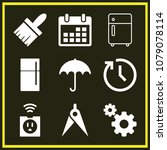 set of 9 tool filled icons such ... | Shutterstock .eps vector #1079078114