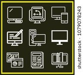 set of 9 monitor outline icons... | Shutterstock .eps vector #1079078243