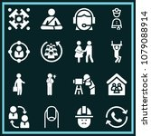 set of 16 people filled icons... | Shutterstock .eps vector #1079088914