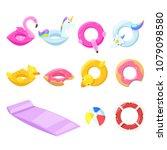 pool cute kids inflatable... | Shutterstock .eps vector #1079098580