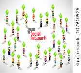 conceptual social network with... | Shutterstock .eps vector #107910929