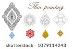thai pattern painting for wall... | Shutterstock .eps vector #1079114243