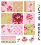 shabby chic vector rose... | Shutterstock .eps vector #107912930
