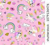 pattern with unicorns  rainbow  ...   Shutterstock . vector #1079136476