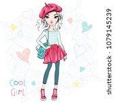 cute beautiful girl in a summer ... | Shutterstock .eps vector #1079145239
