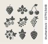 set of berry food icon vector... | Shutterstock .eps vector #107915648