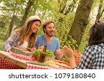 group of friends enjoying... | Shutterstock . vector #1079180840
