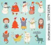 cute set of vector christmas... | Shutterstock .eps vector #107918396