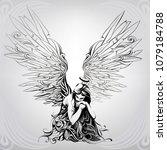 angel girl in ornament | Shutterstock .eps vector #1079184788