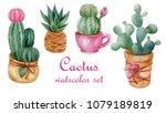 Watercolor Set Of Succulent...